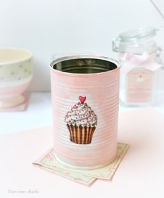 painted tin cans with a painted cupcake Incredible DIY Craft Ideas from Passion Shake