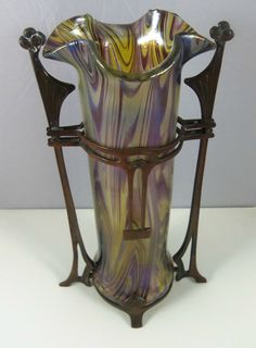 Kralik Iridescent Luster Art Glass Vase In Swirled Shades Of Purple And Blue, Mounted In Metal Frame   c.1910