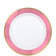 Gold & Pink Border Premium Plastic Lunch Plates 10ct