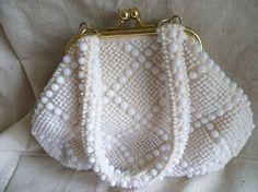 White Beaded Handbag  Vintage Purse  Beach by AlienThriftStore, $14.99