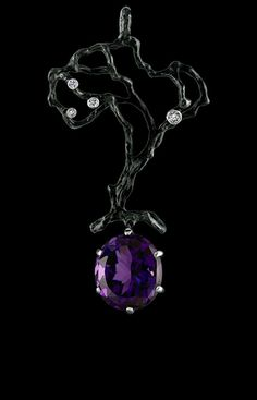 Jewellery Theatre, Eden collection, pendant 18K white gold,diamonts and amethyst