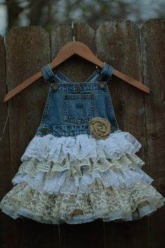 denim vintage linen and lace flower girl by VintageBabyLace