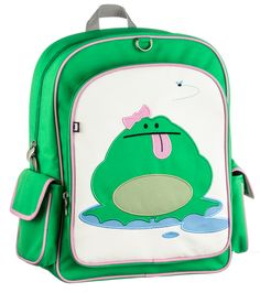 """Click here for more: Katarina (Frog) Children's Backpack by Beatrix New York. Perfect for back to school, or as a gift for a Birthday or Christmas gift...Big enough to hold textbooks, lunch, a laptop, & more. These durable nylon packs have a large interior space with a smaller interior pocket. Exterior has a large front pocket and two side pockets. Padded back panel and shoulder straps. PVC free, lead free, phthalate free & BPA free. Sized for ages 5 to 10. (14 x 15 x 5.5"""")"""