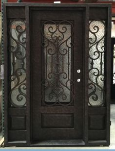 Details about Wrought Iron Door, Doors W/ Iron Works Oper-able Glass Panel Entry Door With Sidelights, Wood Entry Doors, Double Entry Doors, Entrance Doors, Glass Panel Door, Glass Front Door, Glass Panels, Iron Front Door, House Front Door