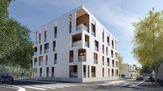 www.atelierdupont.fr                                                                                                                                                                                 Plus Contemporary Architecture, Architecture Design, Habitat Collectif, Paris Atelier, Building Elevation, Hospital Design, Corner House, Residential Complex, Social Housing