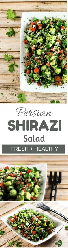 Persian Shirazi Salad Lightweight and delicious salad that goes with literally anything! It longer it stays, the better it tastes. This is definitely going to become a staple in your house! Vegetarian Recipes, Cooking Recipes, Healthy Recipes, Carrot Recipes, Cabbage Recipes, Pizza Recipes, Casserole Recipes, Cooking Tips, Easy Recipes