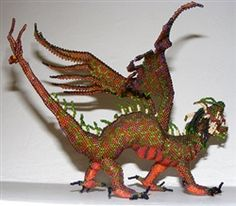 Dragon - Beaded Art by Jose Reanda from Santiago Atitlán, Guatemala