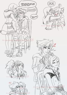 """kingdomsaurushearts: """" Based off my Sokai drabble from the other day~ With a smoooooch bonus~ """" PS:This is soo sweet"""