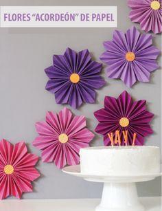 flores de papel acordeon para decorar pared para hacer uno mismo colorido Paper flower DIY
