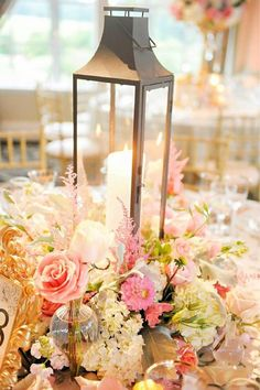 Chic pink floral wedding reception centerpiece; Featured Photographer: Jon Arcara Photography