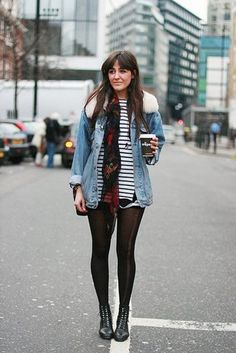 jacket shearling denim jacket denim jacket shearling jacket shearling blue jacket top striped top stripes shorts black shorts tights boots black boots ankle boots scarf fall outfits