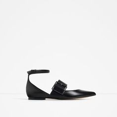 Image 1 of LEATHER BALLERINAS WITH BUCKLE from Zara