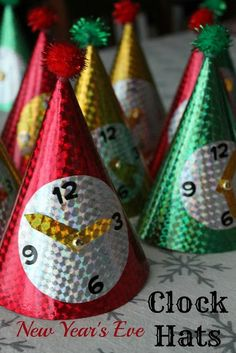 New Year Clock Hats: This is another way to welcome the New Year. All you need to do are to make cone hats with cardboard.
