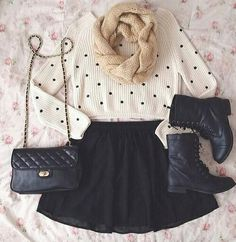 A cute fall outfit for going out. White polka dotted sweater | black skirt | black combat boots | cream knit Infiniti scarf | black purse