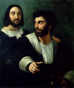 RAPHAEL 1518-20 Rome: Self portrait (left) with a friend. In Artibus et Historiae Vol. 5, No. 10 (1984), pp. 57-60, Cecil Gould  proposes that the 2nd man is the young Pietro Aretino