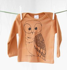 Long-Sleeve, Owl Shirt, Halloween Baby Clothes, Owl t shirt, Toddler T-shirt, fall, 247 team, orange, green. $20.00, via Etsy.