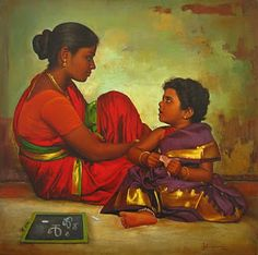 COLORS: S.Ilayaraja Paintings Collections: Teaching her child.