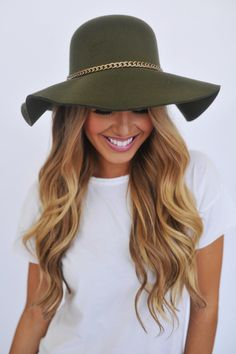 Olive green hat.