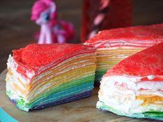 Rainbow Crepe Cake | Regenboog flensjes taart #rainbow #recipe <3