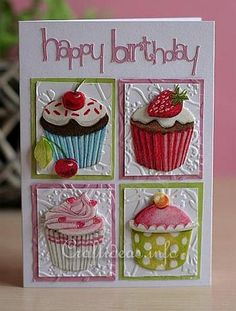 Birthday_Card_-_Greeting_Card_-_Pink_Collage_Card; (Using Paper Napkin) These look good enough to eat.