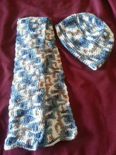Dark Blue and Tan Variegated Hat and Scarf Set by BubblesOfDeath, $20.00