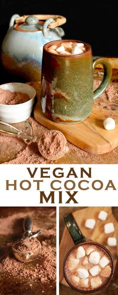 Warm up with this hot mug of creamy and rich Vegan Hot Cocoa - just add water! Click the photo for this incredibly easy recipe. (Vegan Christmas Recipes)