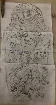 Japan Tattoo Design, Koi Tattoo Design, Dragon Tattoo Designs, Carp Tattoo, Koi Fish Tattoo, Koi Fish Drawing, Fish Drawings, Japanese Tattoo Art, Japanese Tattoo Designs