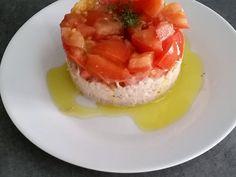 tomate, thon, fromage frais, vinaigre balsamique, ciboulette, poivre, sel, vinaigre, vinaigre balsamique