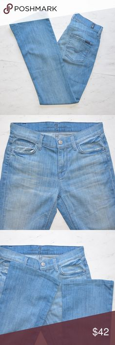 """7 For All Mankind High Waist Bootcut Jeans Size 26 This is a pair of 7 For All Mankind High Waist Bootcut Jeans • Size: 25 • Color: Blue / Light Wash • Excellent Used Condition • Distressed • Hem were altered • 5-pocket • Stretch • Tiny rip on the right bottom side of the jeans. Please see photo# 6 • Made of 98% Cotton 2% •  Machine Wash • Made in USA • Approx measurements: Waist : 29"""". Hip: 37"""". Inseam: 30"""". Front Rise: 9"""". Back Rise: 13"""". Leg Opening: 17"""" • 7 For All Mankind Jeans Boot Cut"""