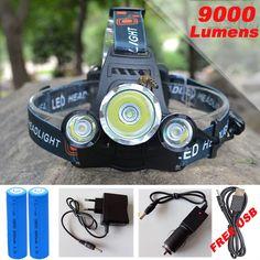 10000Lm 크리 XML T6 + 2R5 LED 헤드 라이트 헤드 램프 헤드 램프 라이트 4 모드 토치 + 2x18650 배터리 + EU/미국 자동차 충전기 낚시 조명