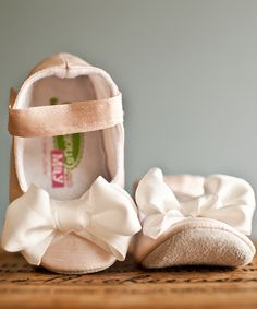 Look at this Gracious May Pink & White Silk Bow Mary Jane on #zulily today!