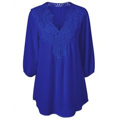 $14.29 Plus Size Sweet Crochet Spliced Blouse