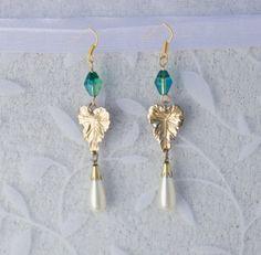 Golden Leaf Pearl Drop Earrings