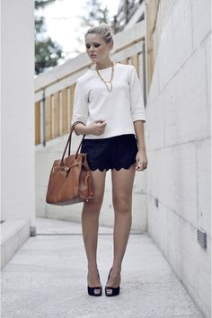 "Shorts With Heels Styles   Bags, Style Sofia Shorts, Zara Tops, Fabi Heels   ""SCALLOPED SHORTS ..."