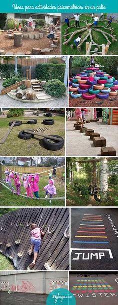 para crear patios de escuelas que inviten a jugar libremente y aprender ideas para estimular la psicomotricidad gruesa en el patio de la escuelaideas para estimular la psicomotricidad gruesa en el patio de la escuela Kids Outdoor Play, Outdoor Play Spaces, Kids Play Area, Outdoor Learning, Backyard For Kids, Large Backyard, Children Play, Outdoor Fun, Outdoor Ideas