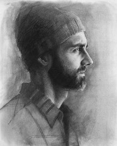 Self Portrait w/ Hat Charcoal on Strathmore 400 11 x 14 inches 2014 by David Pagani