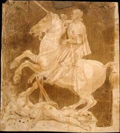 """Antonio Pollaiuolo (Italian, Florence ca. 1432–1498 Rome) - """"Study for the Equestrian Monument to Francesco Sforza"""" , early to mid 1480s Medium, Pen and brown ink, light and dark brown wash; outlines of the horse and rider pricked for transfer. (28.1 x 25.4 cm)"""