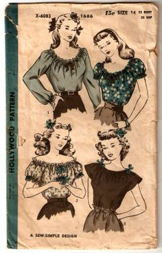 Hollywood 1686 ©1945 peasant blouse