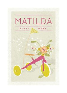 Customizable Botanical Tricycle Print - So sweet for a nursery or little girls' room