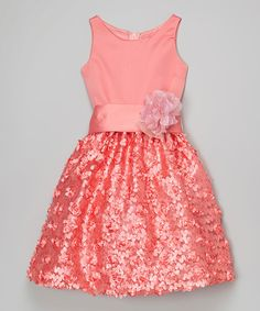 Look what I found on #zulily! Coral Floral Dress - Girls by Chic Baby #zulilyfinds