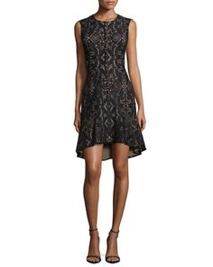 Chrystal Sleeveless Damask Lace Cocktail Dress  by BCBGMAXAZRIA at Neiman Marcus.