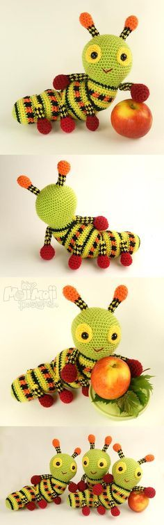 Katie the Caterpillar amigurumi pattern by Janine Holmes at Moji-Moji Design