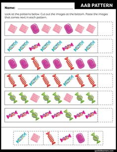 These FREE printable worksheets for kids are great for practicing spatial concepts! These patterns worksheets can be used as homework, bell-ringer activity, warm-up activity, or speech therapy work. Fun activity for your kindergarten or grade 1 students! Pattern Worksheets For Kindergarten, English Worksheets For Kids, Kids Math Worksheets, 1st Grade Worksheets, Free Printable Worksheets, Activities For Girls, Math For Kids, Math Patterns, Pattern Names