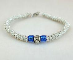 Tiny Silver Metallic Prayer Rope Bracelet with beads by BYZANTINO