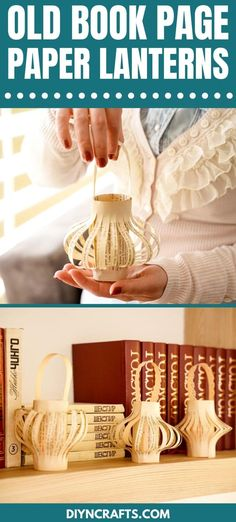 Turn a page from an old book into these beautiful hanging paper lanterns that are ideal for adding warm light to a room or rustic decor to a mantle! This is a wonderful paper lantern project that uses old book pages and just a few craft supplies to create. #PaperLanterns #OldBookPageLantern #PaperCraft #BookPageLantern #HangingLantern Arts And Crafts Projects, Cool Diy Projects, Projects For Kids, Project Ideas, Crafts For Kids, Tin Can Lanterns, Hanging Paper Lanterns, How To Make Lanterns, Hedgehog Craft