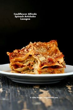 Cauliflower Alfredo Spinach Artichoke Lasagna. Vegan Richa Nut-free Recipe