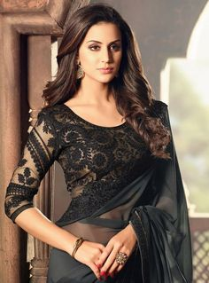 Buy Black Georgette Festival Wear Saree 93709 with blouse online at lowest price from vast collection of sarees at m.indianclothstore.c.