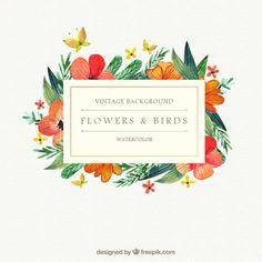 Watercolor flores e pássaros fundo