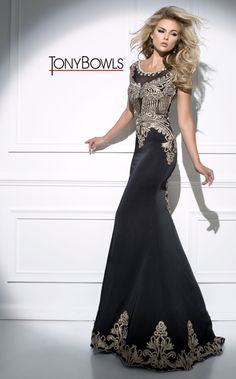 Tony Bowls Black Prom Dress With Gold Detail