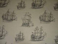 Black sailing ship on cotton linen tapestry curtain upholstery fabric<br />We recommend a sample of this fabric if colour is important to you as colours on different screens may vary.